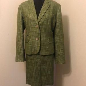 Talbots 2 Piece Green Tweed Suit
